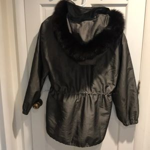 FUR LINED COAT/JACKET FOX HOOD SILVER/BLACK
